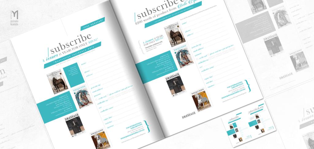 Baroque horse magazine - projekt strony z prenumeratą