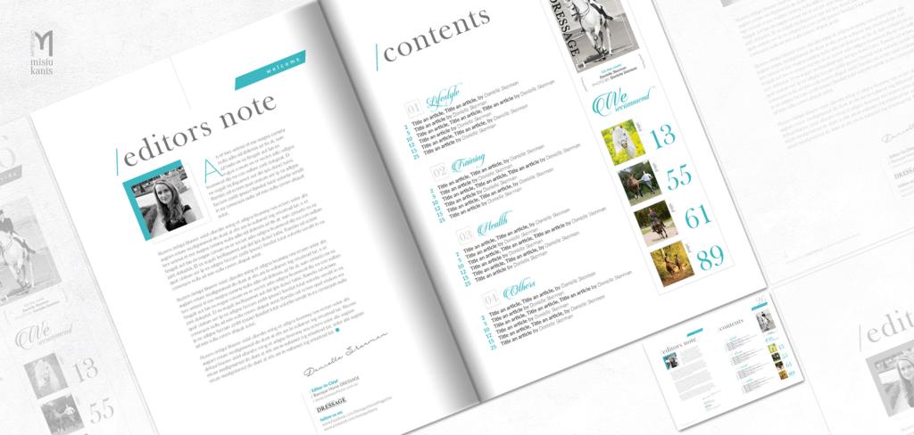 Baroque horse magazine - projekt strony ze wstępem i spisem treści