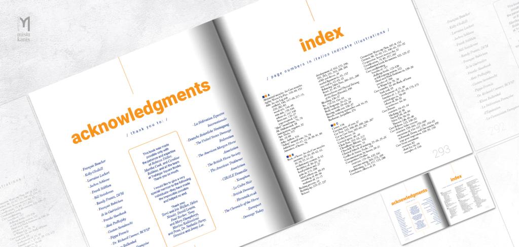 Core Conditioning for Horses - rozkładówka książki: podziękowania i index