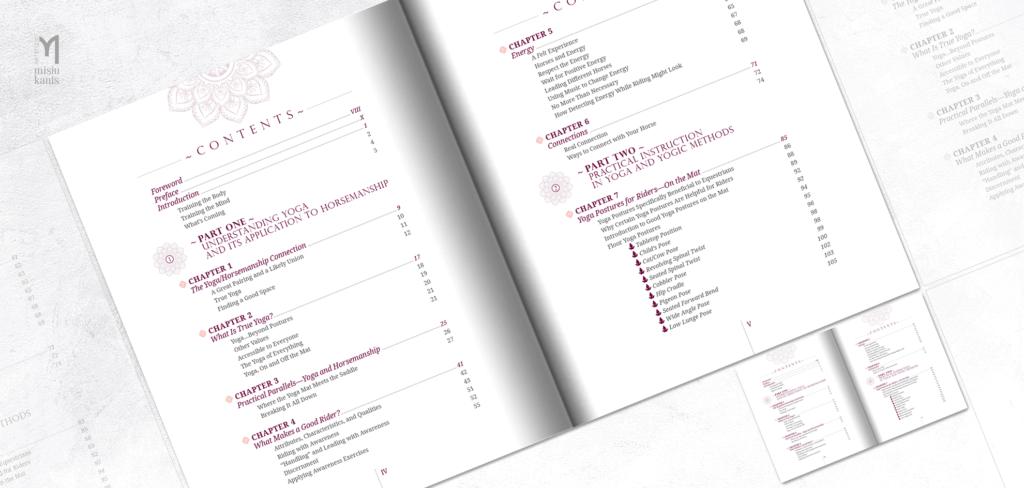 Yoga for Riders - rozkładówka książki: spis treści