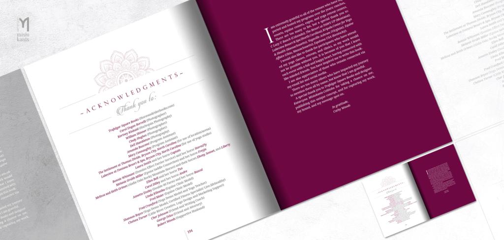 Yoga for Riders - rozkładówka książki: podziękowania