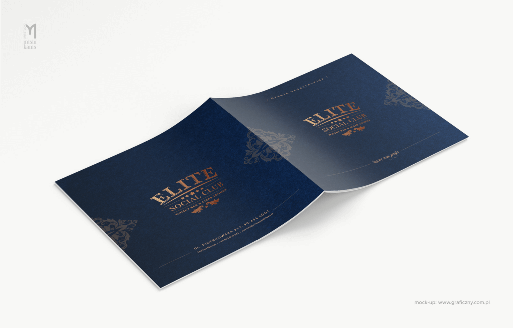Elite Social Club Whisky Bar & Cigar Lounge – broszura degustacyjna (wersja online), format: 20×20 cm