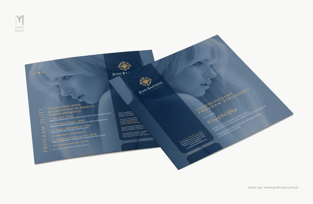 Jean Baptiste Klinika Urody & SPA – ulotka dwustronna, format: 20×20 cm